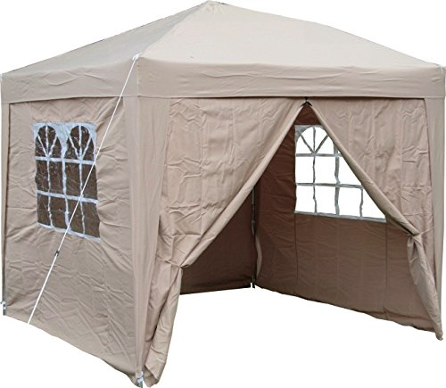 we have the Airwave 2.5x2.5mtr Pop up Waterproof Gazebo that shows up with two wind bars for stability against strong winds. In line with the features that you may find in the best pop up gazebo, this unit features a strong weather-protected steel frame. The powder-coated frame supports the 190g polyurethane coated polyester canopy.