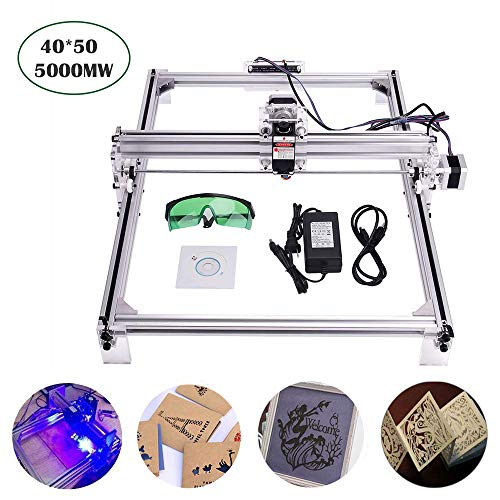 5000 mW Laser Engraver Kits, MYSWEETY 40x50 cm DIY CNC Holzschnitzerei Schneidemaschine, Desktop Laser Logo Drucker Bildmarkierung, 2 Achsen