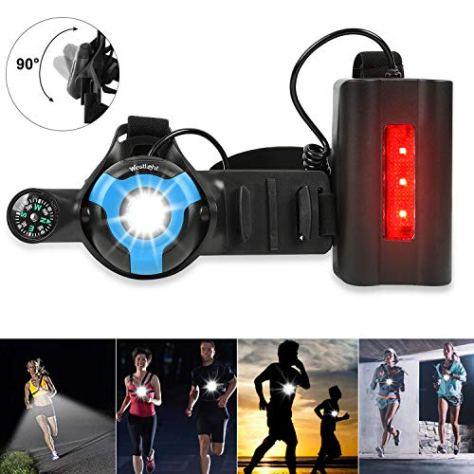 Lauflicht, 90 ° verstellbarer Strahl LED Sicherheitslicht Warnlicht mit Gummiband, USB wiederaufladbare wasserdichte Brustleuchte mit Kompass zum Joggen, Wandern, Dog Walking, Camping, Klettern