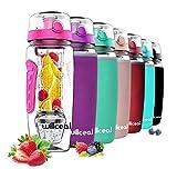 Fruit Infuser Water Bottle 32oz Durable with Detachable Ice Gel Ball, Large - BPA Free Tritan, Flip Lid, Leak Proof Design - Sports, Camping (Pink)