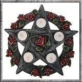Pentagrama rosa wiccano Pagan Coleccionable de soporte para vela de té