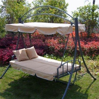 Hollywoodschaukel Gartenschaukel mit Bettfunktion JL51-Beige