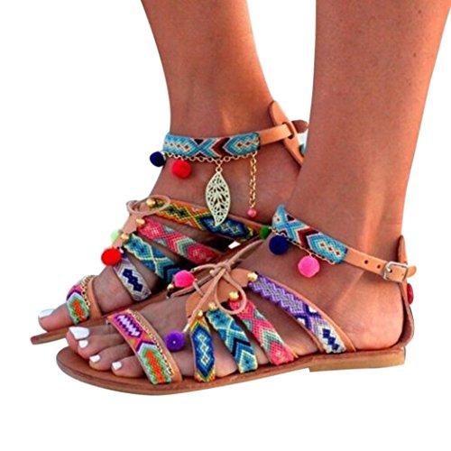 9906b05f07c88 OHQ Sandales Plates De Style BohèMe pour Femme Multicolore Femmes ...