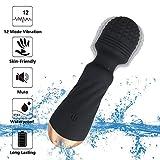 Maksexy Electric Massager, silicone medico, con 20 modalità di vibrazione, doppio motore, 100% impermeabile, per il relax e il massaggio (nero)