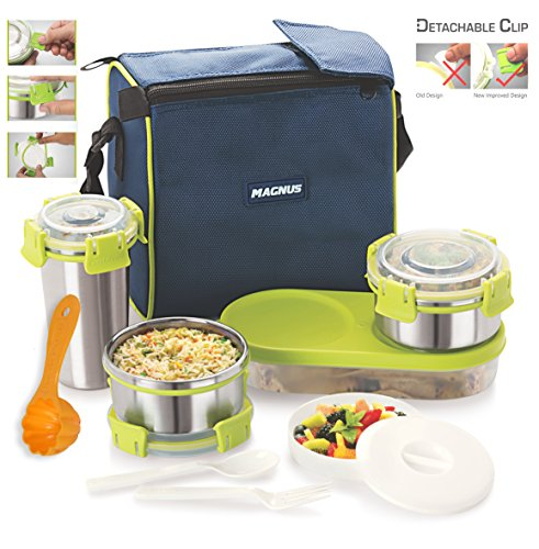 Magnus Lunch Box With Detachable Clip Lock, Leak Proof Containers & Bag, Stainless Steel, 5 Pcs Set +1 Multipurpose Scoop Free