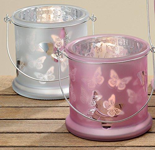 Portavelas Mariposa color rosa plata (2piezas, cristal doble efecto vela Soporte