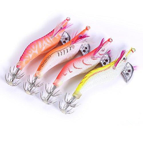Esche Artificiali 4pcs Gambero Luminoso Calamari Polpi Jig Esche con Ganci a Doppio Strato per Pesca di Notte