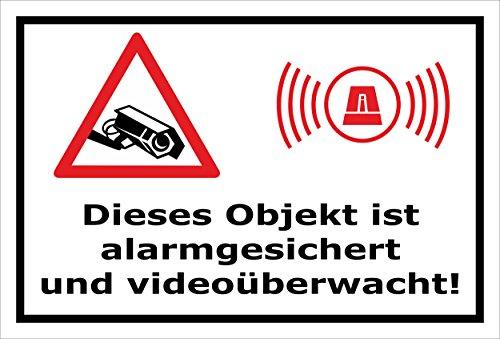 Video-Überwachung Aufkleber - Objekt alarmgesichert videoüberwacht 30x20cm – S00348-017-A – Kamera-Überwachung +++ in 20 Varianten erhältlich