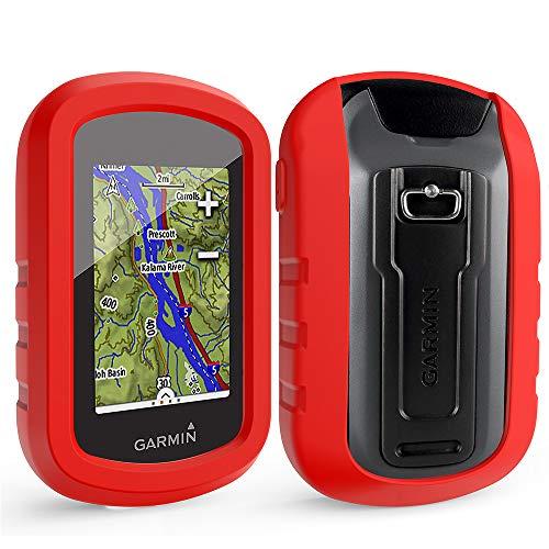 TUSITA Funda con Protector de Pantalla para Garmin eTrex Touch 25 35 35t - Funda Protectora de Silicona Skin - Accesorios de Mano GPS Navigator (Rojo)