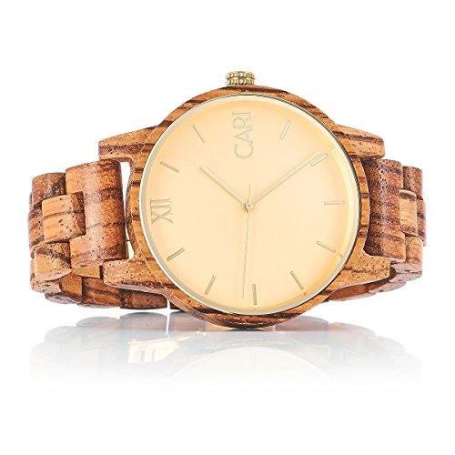 Cari Herren Männer Holzuhr 43mm mit Schweizer Uhrwerk - Holz-Armbanduhr London-071