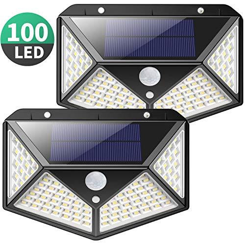 Luce Solare Esterno, Kilponen 100 LED Lampada Solare con Sensore di Movimento [270º Illuminazione 2...