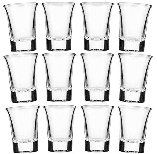 Set di bicchierini da shots da 2 cl in vetro opaco satinato per Vodka,Tequila, trasparente, 12 pezzi