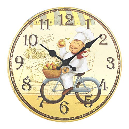 ufengke Orologio da Parete in Legno Cucina Rustici Orologio da Muro al Quarzo Cuoco Felice in Bicicletta, Diametro 30 cm