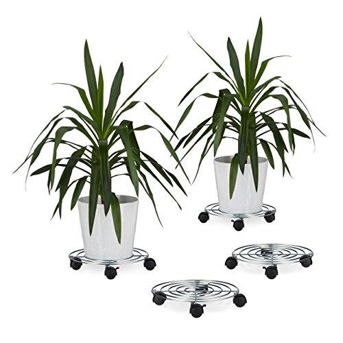 4x Pflanzenroller, Blumenroller mit Bremse, rund, Blumentopfuntersetzer aus Stahl, HBT: ca. 6 x 32 x 32 cm, silber