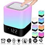 Swonuk Enceinte Bluetooth Portable sans Fil Bluetooth Haut-Parleur avec Contrôle Tactile Multicolor Lampe de Chevet, Réveil, Lecteur MP3, Mains Libres