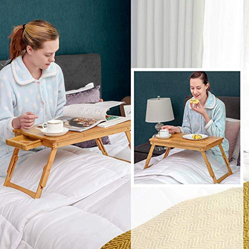AZOD Adjustable Laptop Stand Bed Table with Portable Standing Desk, Foldable Sofa Breakfast Tray, Notebook Stand Reading Holder