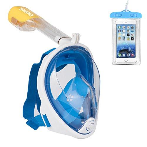 Emsmil Maschera da Snorkeling Easybreath 180 Panoramici Full Face Respirazione Libera Maschere Subacquee Anti-Appannamento Anti Infiltrazioni Sacchetto Impermeabile Telefono per Adulti e Bambini Blu