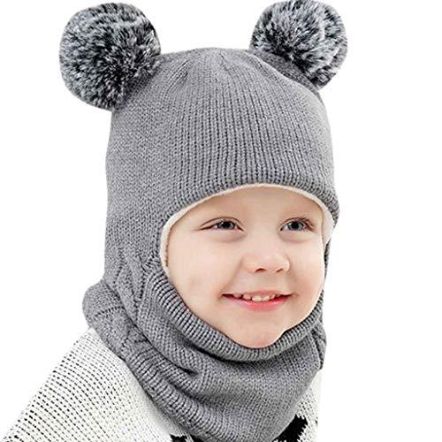 Liqiq Bambini Inverno Cappello Silenziatore Guanti 3 Pezzi Bambine Caldo Pompon Cappelli Berretto...