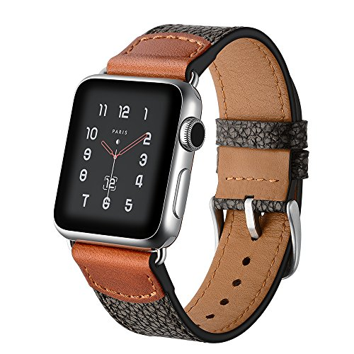 Dee Plus Compatibile con Cinturino Apple Watch, Cinturino in Vera Pelle con Grana Pietra per iWatch Serie 1/2/3/4, Ricambio Intelligente Fibbia in Metallo Sgancio Rapido, Proteggi Schermo Regalo