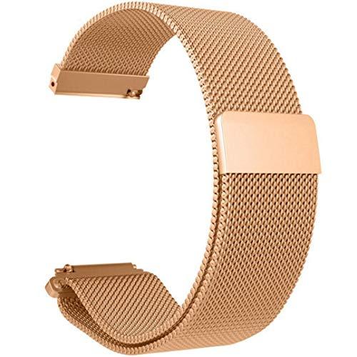 JiaMeng para Xiaomi MI Banda, Moda de Correa de Banda de Reloj de Pulsera de Acero Inoxidable para Reloj Xiaomi Amazfit Bip(Oro Rosa,tamaño Libre)