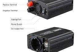Suaoki – 300W Convertisseur DC 12V AC 220V-240V, Transformateur de Tension Dual USB Ports 5V/2.1A, Corps en Aluminium, Attaches de Batterie de Voiture et Chargeur de Voiture, Noir prêt à acheter