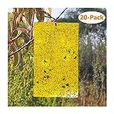 lzndeal 20PCS Sticky Traps Yellow Dual-Sided étiquette de Papier pour...