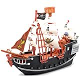 Childrens Kids Pirate Ship Pretend Play Cannon Treasure PlaySet With Figures Toy