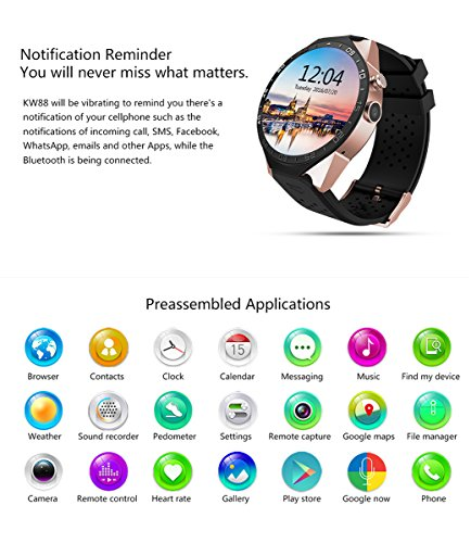 KW88 3G Smart Watch, Cell Phone All-in-One Bluetooth Smart Watch Android 5.1 OS, Quad Core 2.0MP Camera Bluetooth SIM Card WiFi GPS Heart Rate Monitor (Black+Gold)