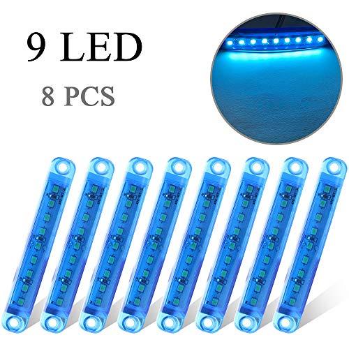 8 x Blu Luce Laterale 9 LED 12-24V Luci di Posizione Indicatore Universale per Camion Camper Auto...