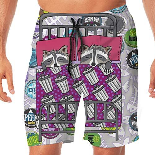 Pantaloncini da Surf da Uomo Quilt Block 4 di 4 Dream Raccoon_2296 Costume da Bagno Surf Beach Holiday Party Pantaloncini da Bagno da Spiaggia XXL