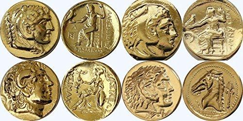 Monedas del famoso Alejandro Magno, colección de monedas de dioses y diosas griegos, (ALEXSET4-G)