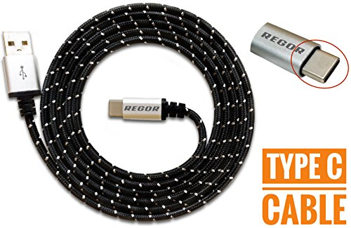 Regor TYPE-C cable, 5 Ft/1.5Mtr, RUGGED Connectors,Nylon Braided for Type-C Devices,NOT A MICRO USB