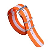 18 millimetri arancione / bianco brillante di fascia alta in nylon stile sostituzione superiore NATO della cinghia del cinturino per le donne