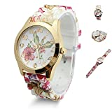 Estone Hot Fashion Women Dress Watch silicone printed Flower causal Quartz Wristwatches (vino rosso)