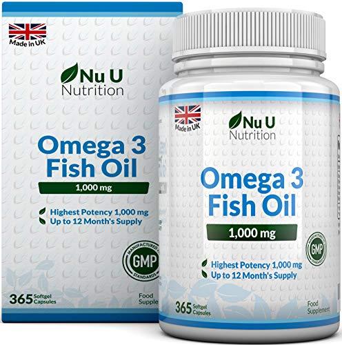 Omega 3 Fischöl 1000 mg von Nu U | 365 Kapseln (Versorgung für 12 Monate) | 100{960e5731d02252b8912ae8f4773352eb165945a147f04ab148ab8e324bf57a72} GELD-ZURÜCK-GARANTIE | Maximale Stärke und Aufnahmefähigkeit | Hergestellt in Großbritannien