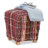 Relaxdays sin Espalda reposapiés, Cuadrado puf, diseño de Escocia, tapizado con otomana con Patas de Madera, 40x 40cm, Rojo