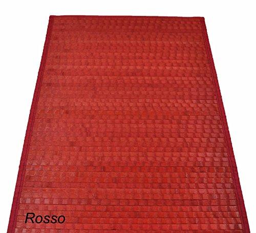 CASA TESSILE Bamboo Tamburato Tappeto passatoia cm 70x140 - Rosso