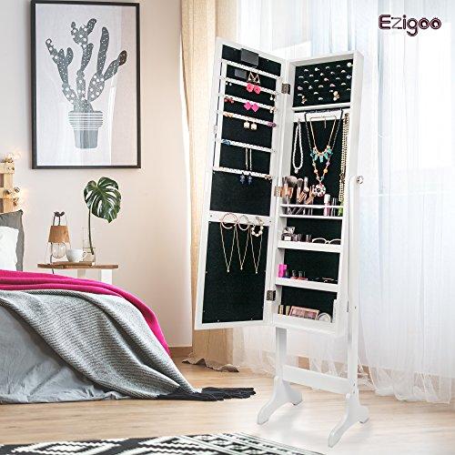 Ezigoo Spiegel Schmuckschrank Beleuchtet mit Touchscreen LED Licht - Schmuckregal mit Ganzkörperspiegel - 2
