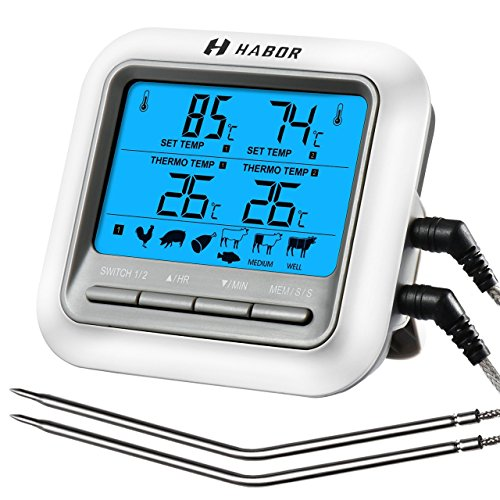 Habor Termometro Cucina Timer Doppia Sonda, Termometro Digitale Grande LCD Display Sonda Acciaio...