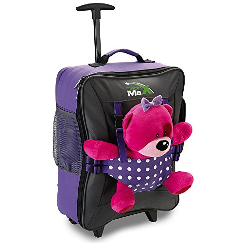 Cabin Max Bear Bag Trolley per Bambini con Ruote Porta Peluche 50x34x20cm Valigia Bagaglio a Mano,...