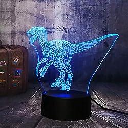 Luz De La Noche Jurassic World Dinosaur Velociraptor Blue 3D Led Luz De La Noche Lámpara De Mesa De Vacaciones 7 Colores Boy Kid Party Regalo