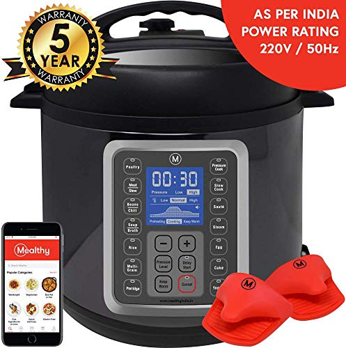 Mealthy MultiPot 9-in-1 Programmable Electric Pressure Cooker 6 Litres with Stainless Steel Pot, Steamer Basket and Instant access to Mealthy Recipe App. Pressure cook, slow cook, sauté, rice cooker, yogurt & steam.