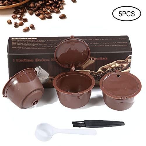 KOBWA 3 Pcs Capsule per Caffè Riutilizzabili Capsule Dolce Gusto,Tazza Filtro per Macchina da Caffè con 1 Cucchiai in Plastica e 1 Pennelli Brown