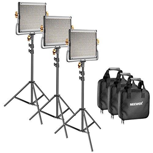 Neewer 3 Video Luce 480 LED Bicolore Dimmerabile & Cavalletto: Faretto LED 3200-5600K CRI 96+ con...