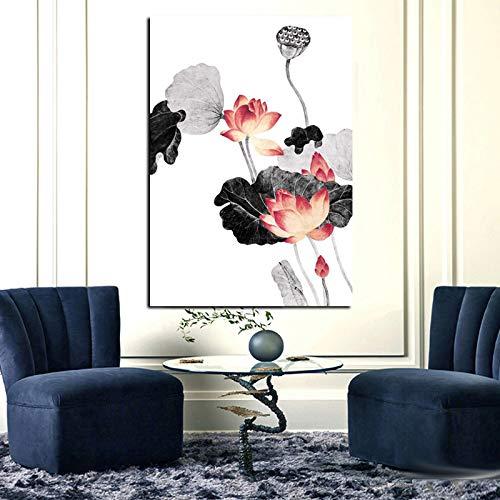 RTCKF Stampa HD Calligrafia Cinese Tradizionale Pittura Foglia di Loto Rosa Immagine su Tela per...