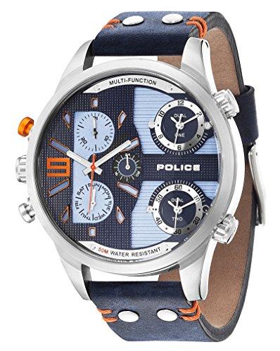 Police COPPERHEAD-Orologio da uomo al quarzo con Display con cronografo e cinturino in pelle, %2F03 14374JS, colore: blu