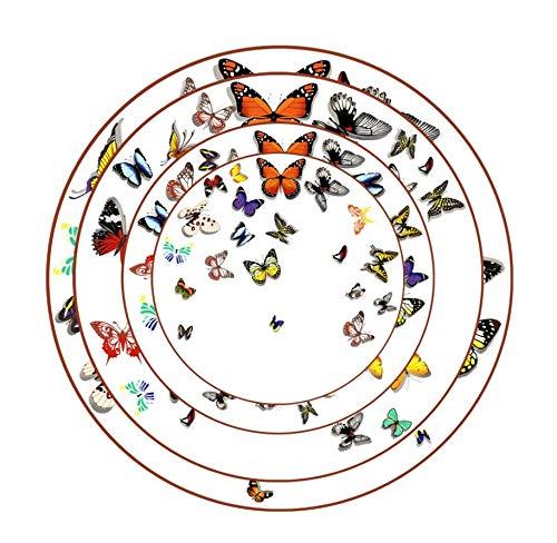 YAzNdom Juego de Platos de Porcelana de Moda Creativa con Forma de Mariposa Placa de Porcelana Boda de Alta Gama de vajilla de Regalo 4 Paquetes