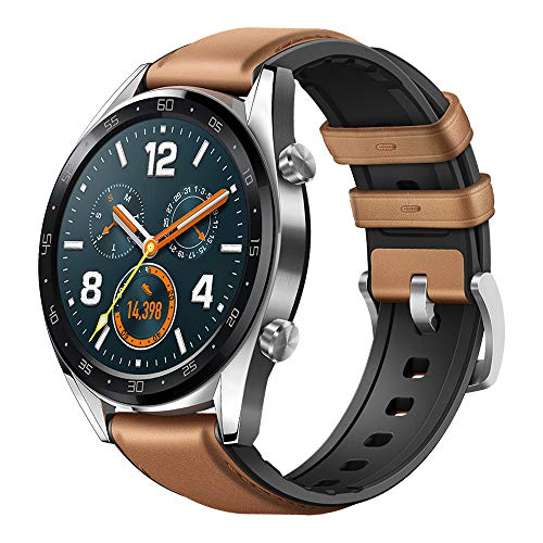 Huawei Watch GT Classic Smartwatch (46 mm Amoled Touchscreen, GPS, Fitness Tracker, Herzfrequenzmessung, 5 ATM wasserdicht) Saddle/braun