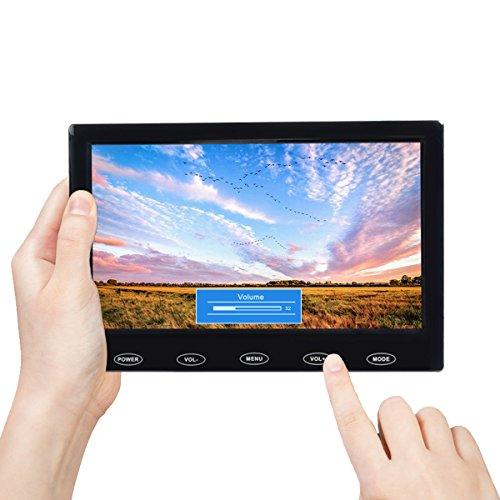TOGUARD Schermo 7 Pollici TFT LCD Schermo Ultra-Sottile Monitor Portatile Full HD 1024x600, Entrata AV/VGA/HDMI, con Bottoni Tattili, Altoparlante Integrato, Compatibile con Telecamera di Sicurezza