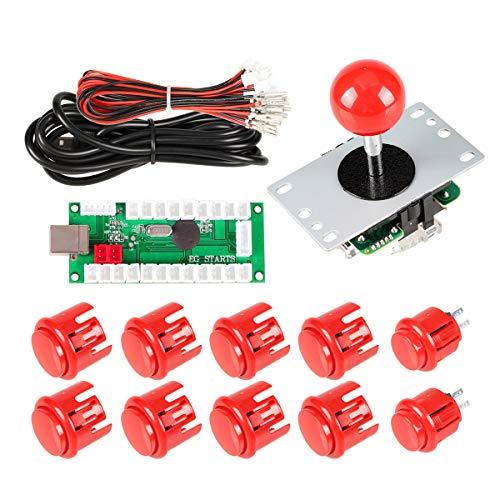 EG STARTS Ritardo Zero Arcade Fai da Te Maniglia Encoder Kit Parts USB al PC Games 5 Pin Joystick + 24mm 30 Millimetri Pulsanti per Arcade Cabinet Mame & Raspberry Pi 2 Project 3B Modello (Rosso)
